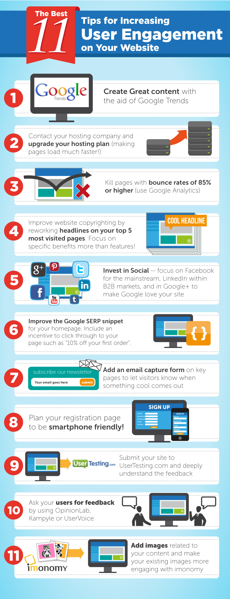 11 Tips For Increasing User Engagement On Your Website - Infographic