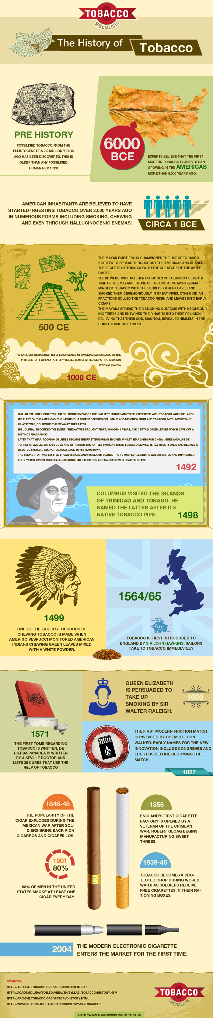 Detailed Infographic Depicting the History of Tobacco