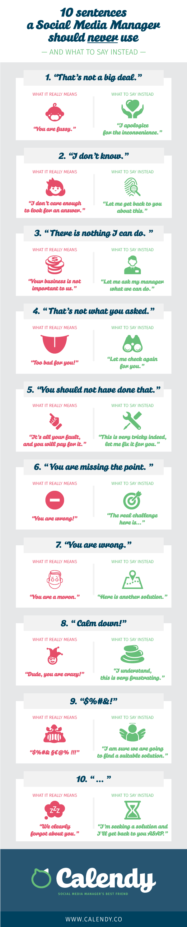 10 sentences a social media manager should never uses infographic