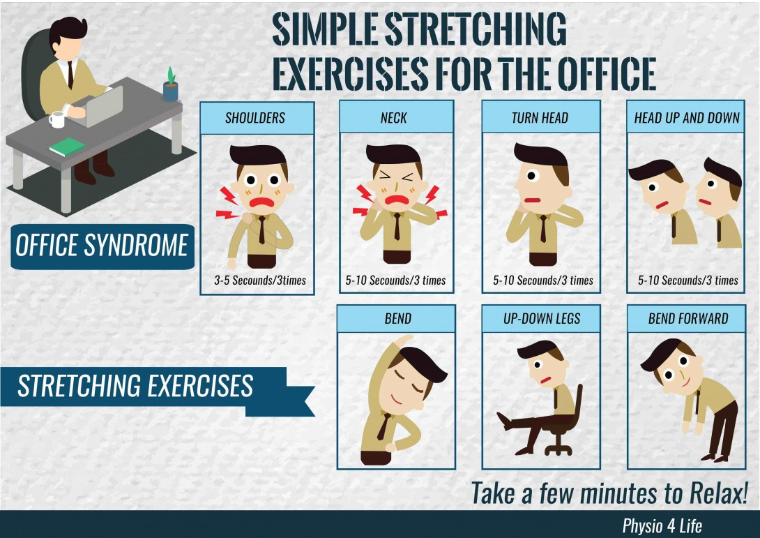 stretching exercises for the office infographic post